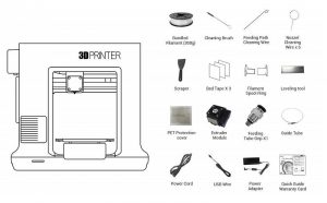 Whats in the box of the daVinci mini 3d printer