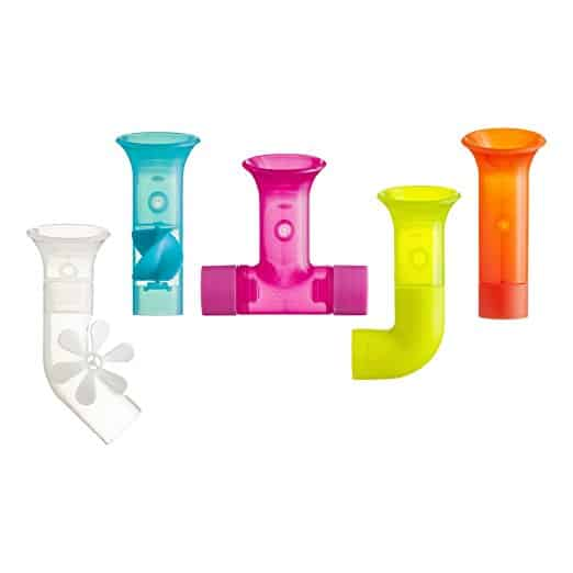 Boon bath building pipes are an innovative stem toy for teaching toddlers about cause and effect