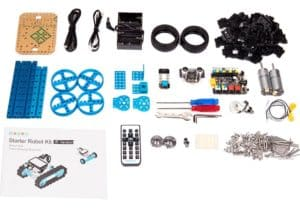 The components of the Makeblock robotics kit