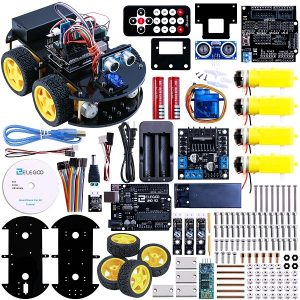 The components of the Elegoo robot car kit