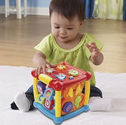 the vtech activity cube is one of the best stem toys for infants