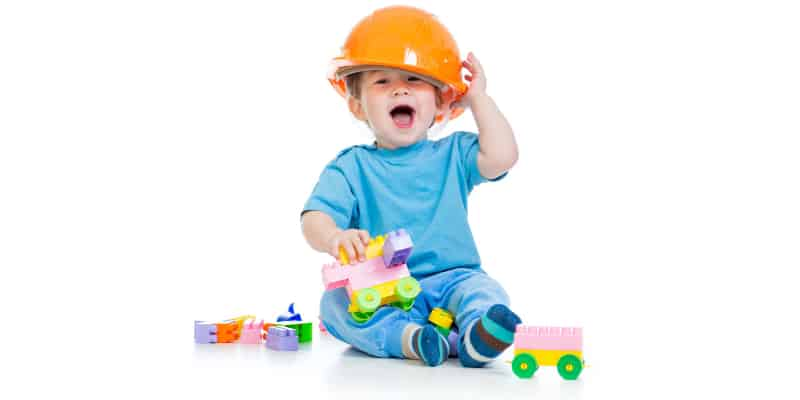 Child happily playing with the best STEM toys for toddlers