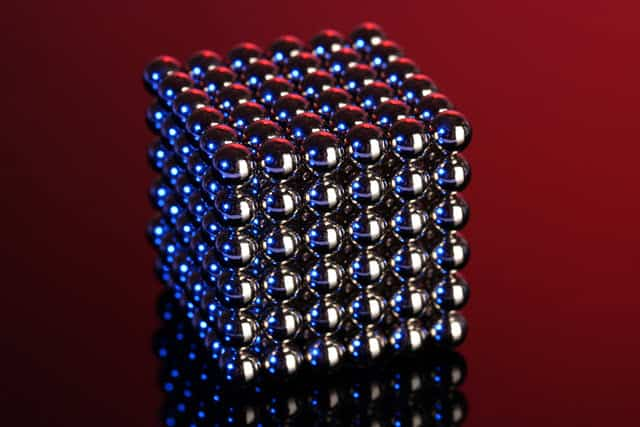 Magnetic balls in a cube shape