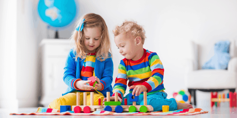 Kids playing with active toys