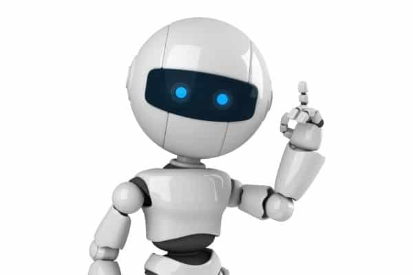 White sphere robot pointing up