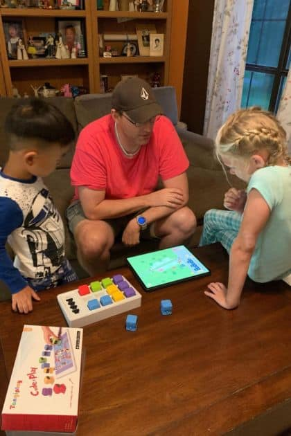 My nieces and nephew coding with Tangiplay