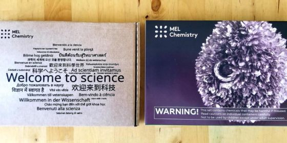 Growing crystals with tin experiment included in MEL Chemistry Science kit