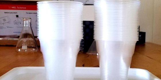 Stack of small plastic cups included in MEL Science Chemistry kit