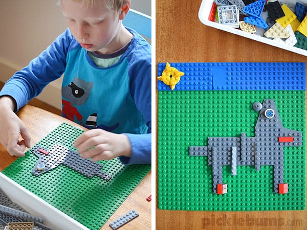 Kid doing the flat LEGO challenge