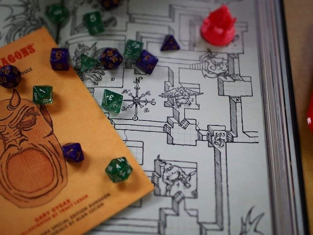 Dungeons and Dragons guidebook and dice