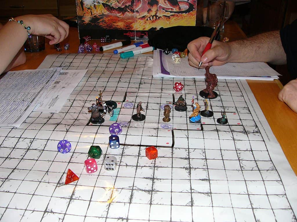 People playing Dungeons and Dragons game