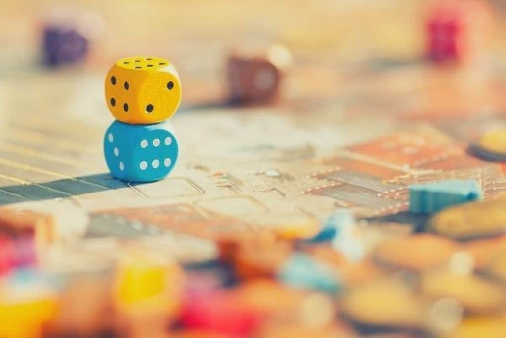 Board game with colorful dice