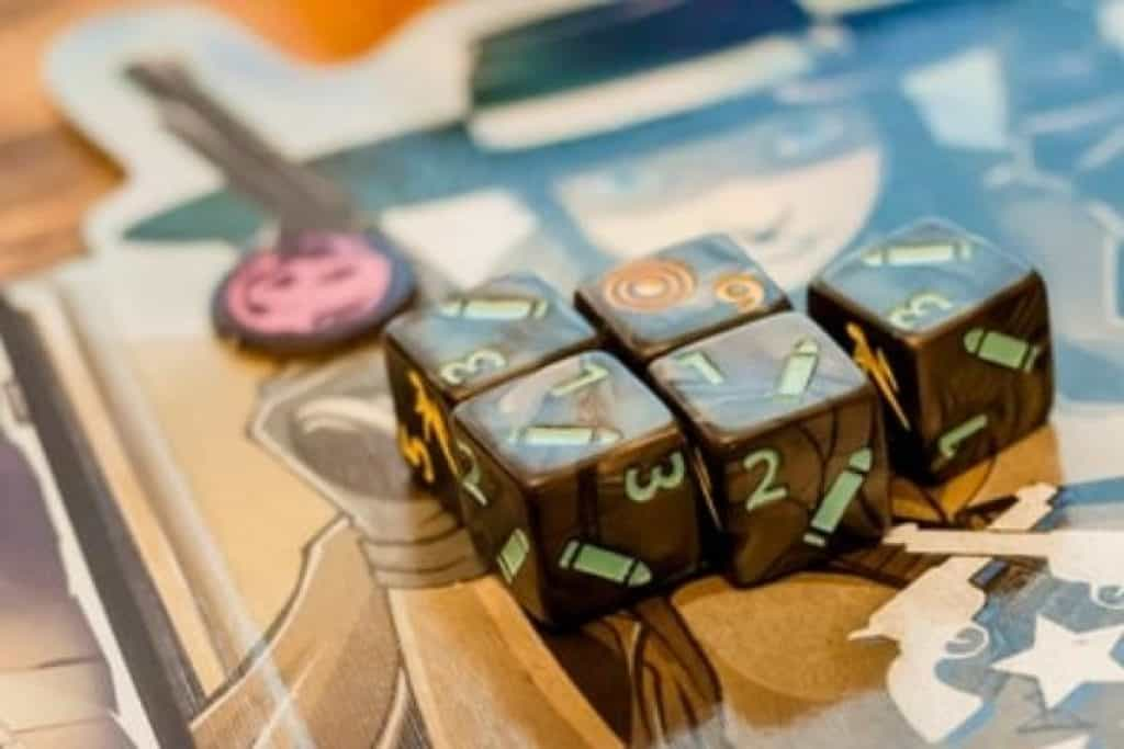 A board game with dice