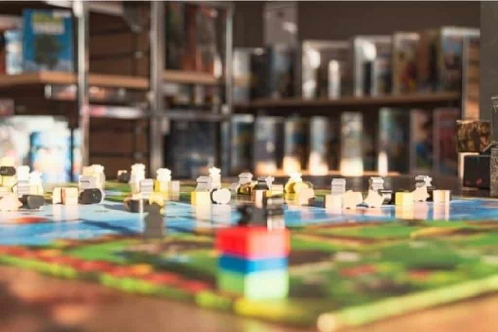 Wide shot of a board game