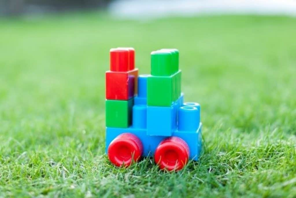 Colorful blocks on the grass