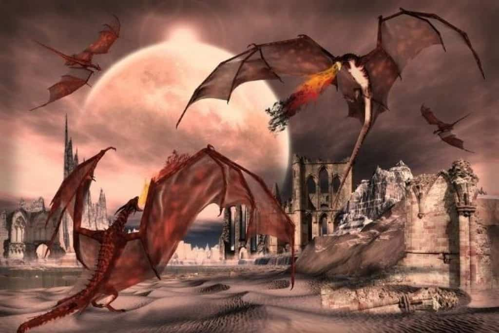 Illustration of dragons and ruins
