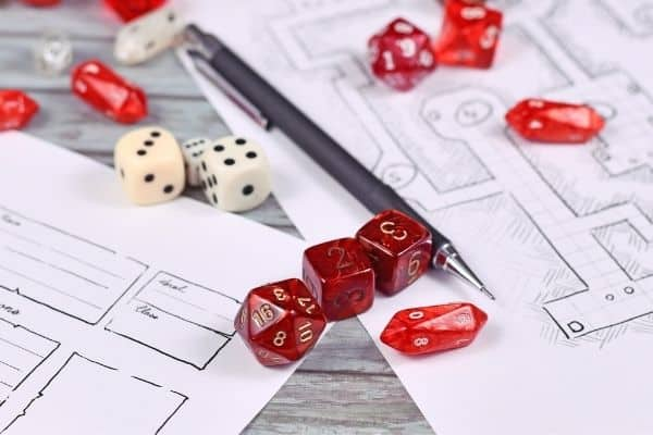 Board game dice paper and pen
