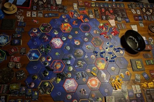 Whole table view of Twilight Imperium early to mid game
