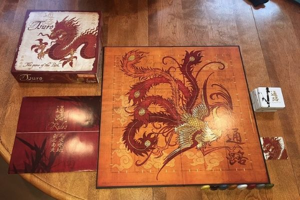 Contents of Tsuro board game