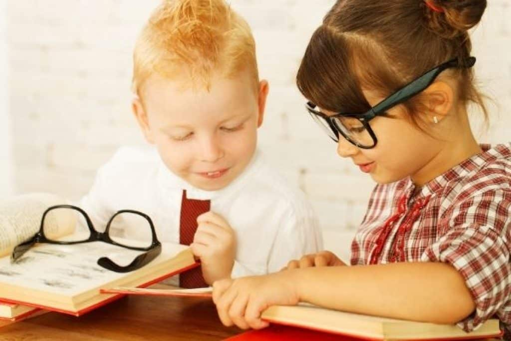 Preschoolers with books and glasses