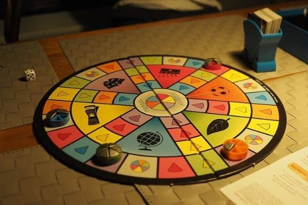 Trivial Pursuit board game table set up