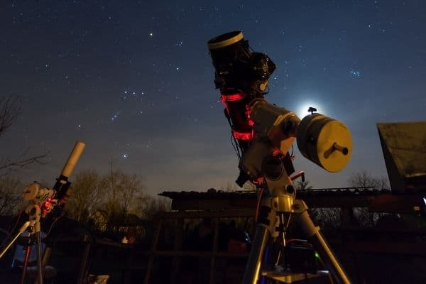 Computerized telescopes set up in the backyard