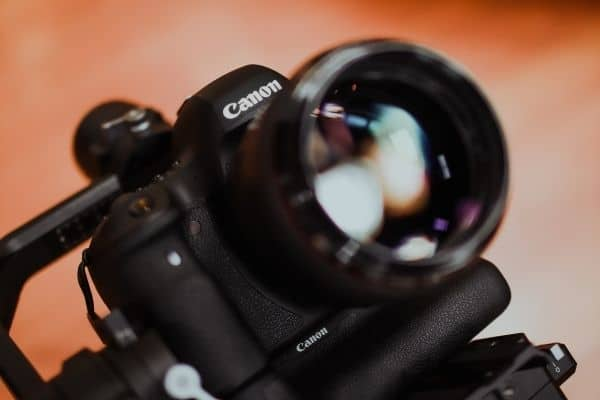 Close up shot of canon camera with lens
