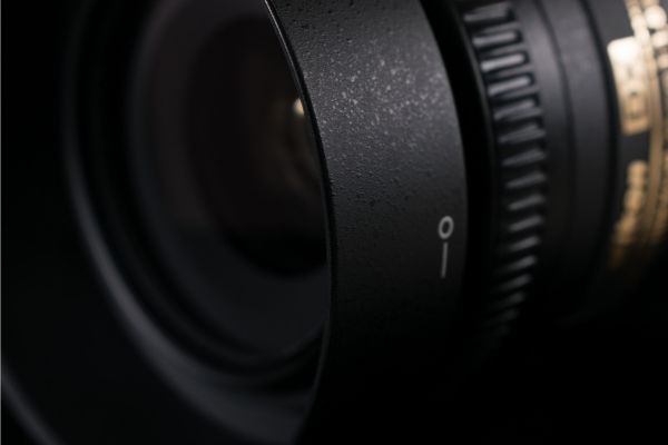 Close up shot of a camera lens for astrophotography