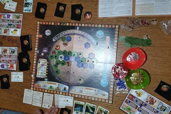 Terraforming Mars board game laid out on the table
