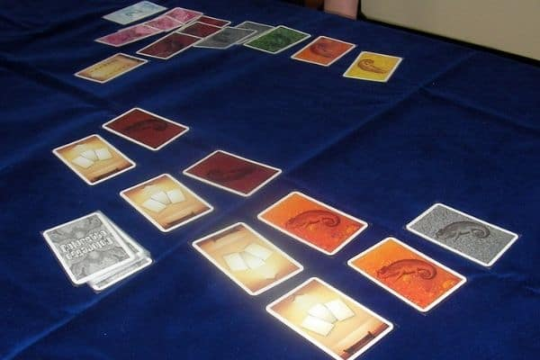Coloretto card game lay out.