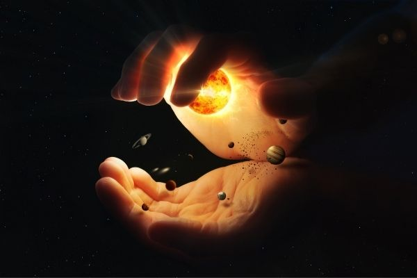Universe in a person's hands