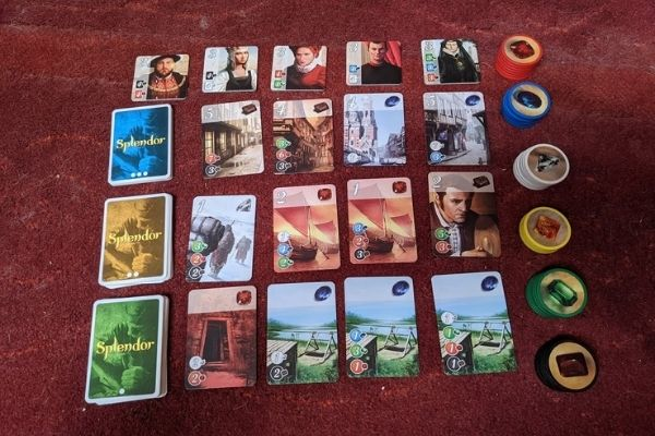Splendor Board Game cards and tokens