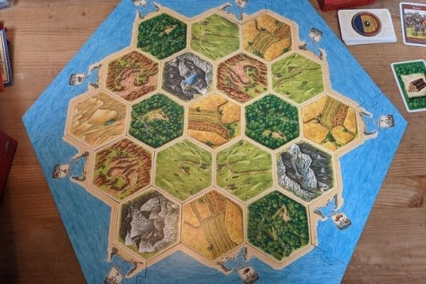 Settlers of Catan board game set up