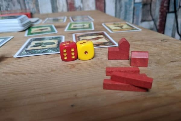 Dice and cards of Settlers of Catan