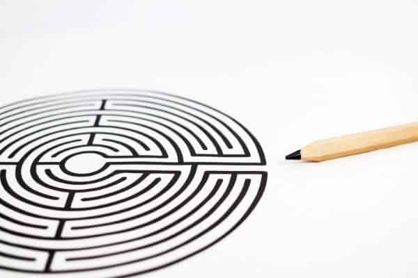 Finger labyrinth drawn on paper with a pencil